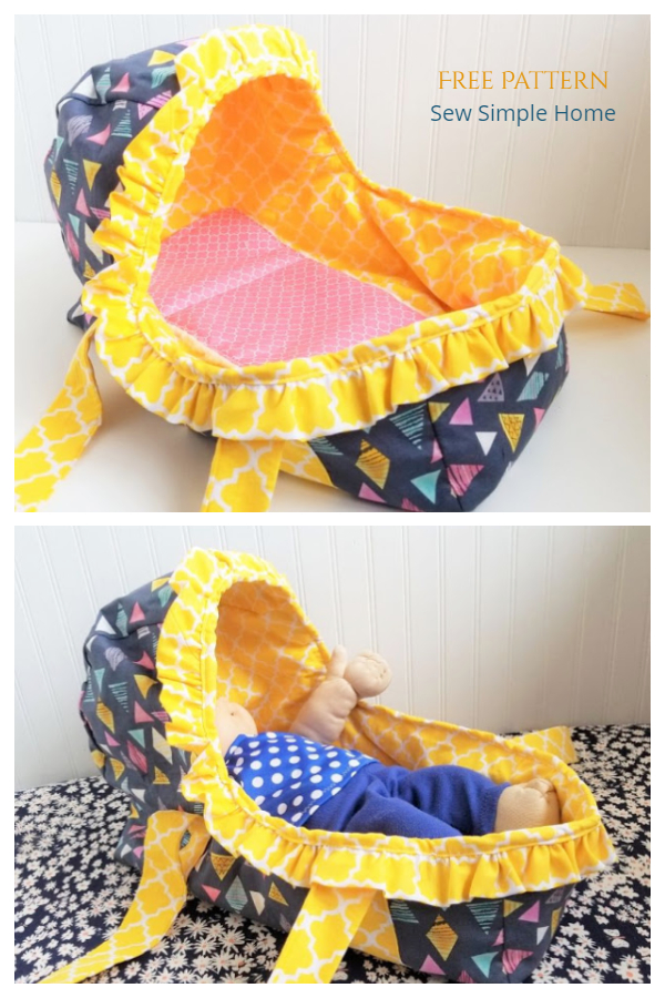 DIY Fabric Baby Doll Basket Free Sewing Patterns