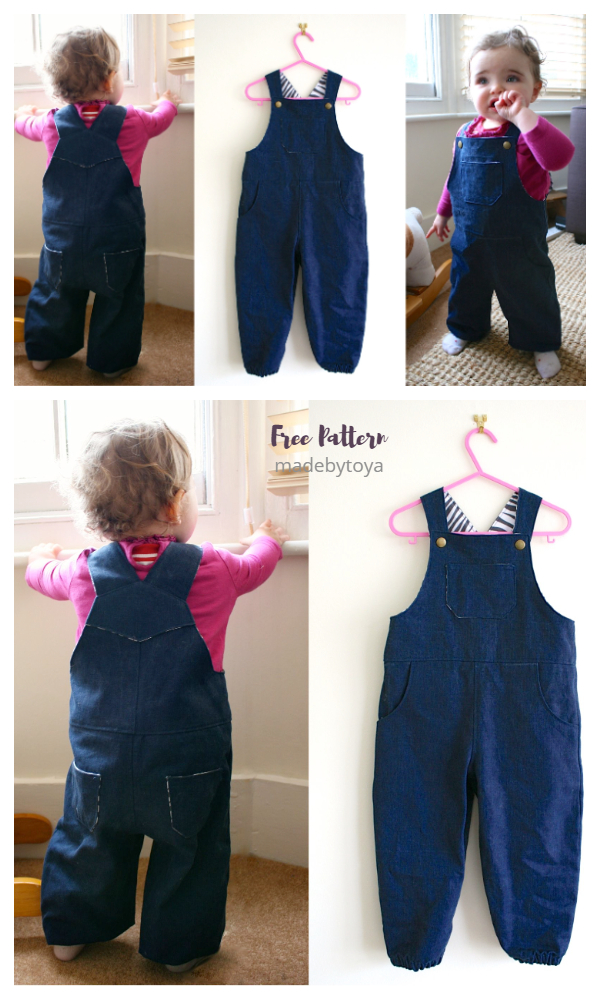 DIY Fabric Toddler Dungaree Overall Free Sewing Patterns