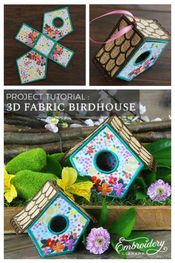 DIY 3D Fabric Birdhouses Free Sewing Patterns & Tutorials