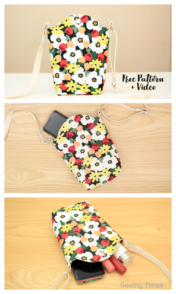 DIY Fabric Crossbody Cellphone Bag Free Sewing Pattern + Video