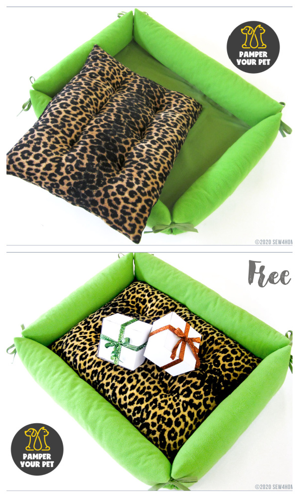 DIY Fabric Comfy Pet Bed with Bolster Sides Free Sewing Patterns