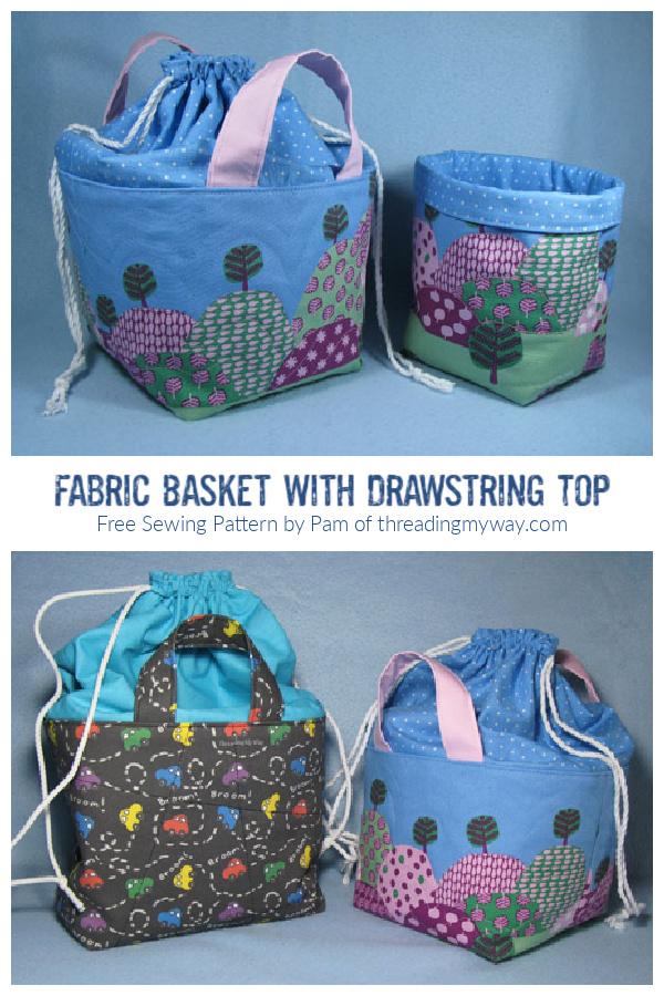 DIY Fabric Basket with Drawstring Top Free Sewing Pattern + Tutorial
