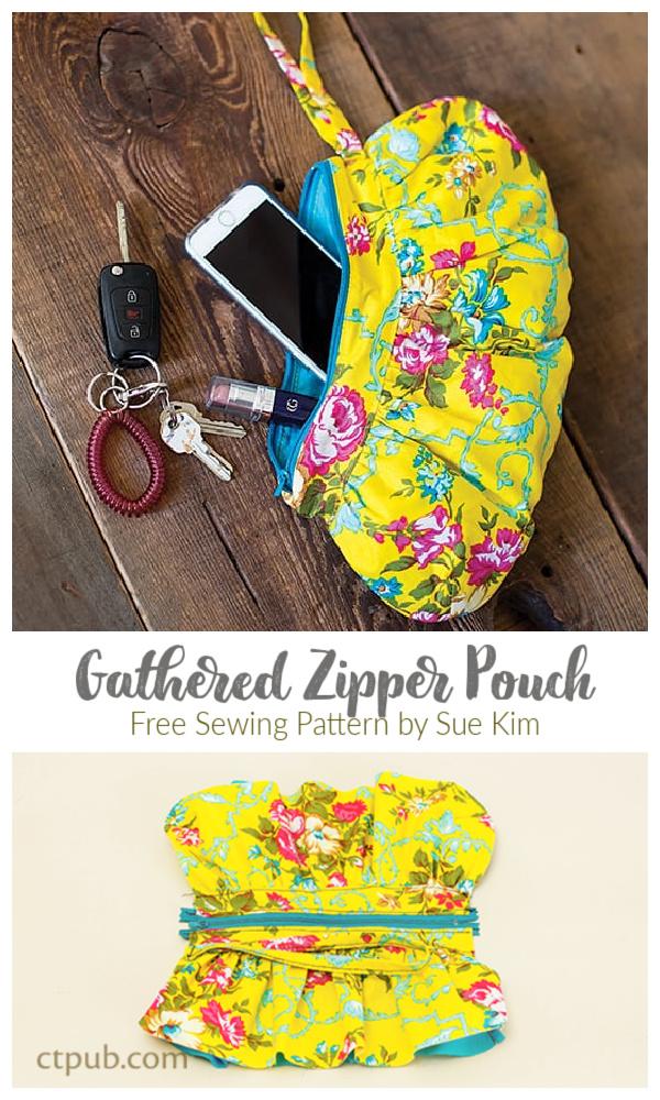 DIY Fabric Gathered Zipper Pouch Free Sewing Pattern