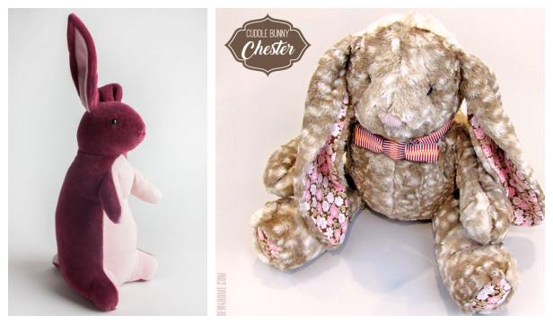 DIY Fabric Plush Bunny Rabbit Toy Free sewing patterns