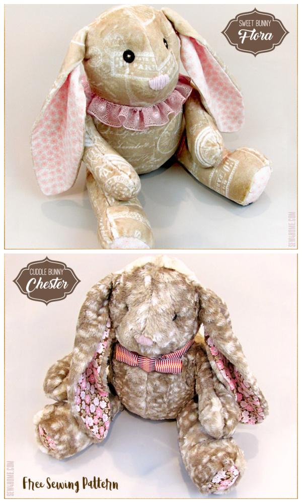 DIY Soft, Stuffable Fabric Bunny Free sewing patterns