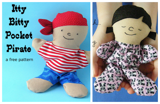 DIY Fabric Pocket Pirate Doll Free Sewing Pattern