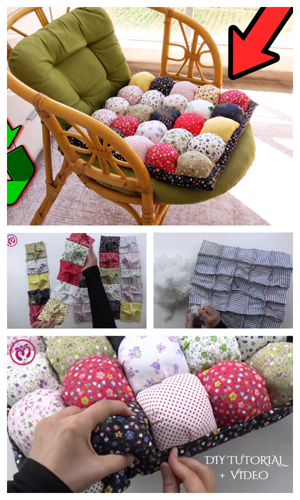 DIY Fabric Pouf Chair Cushion Free Sewing Pattern + Video