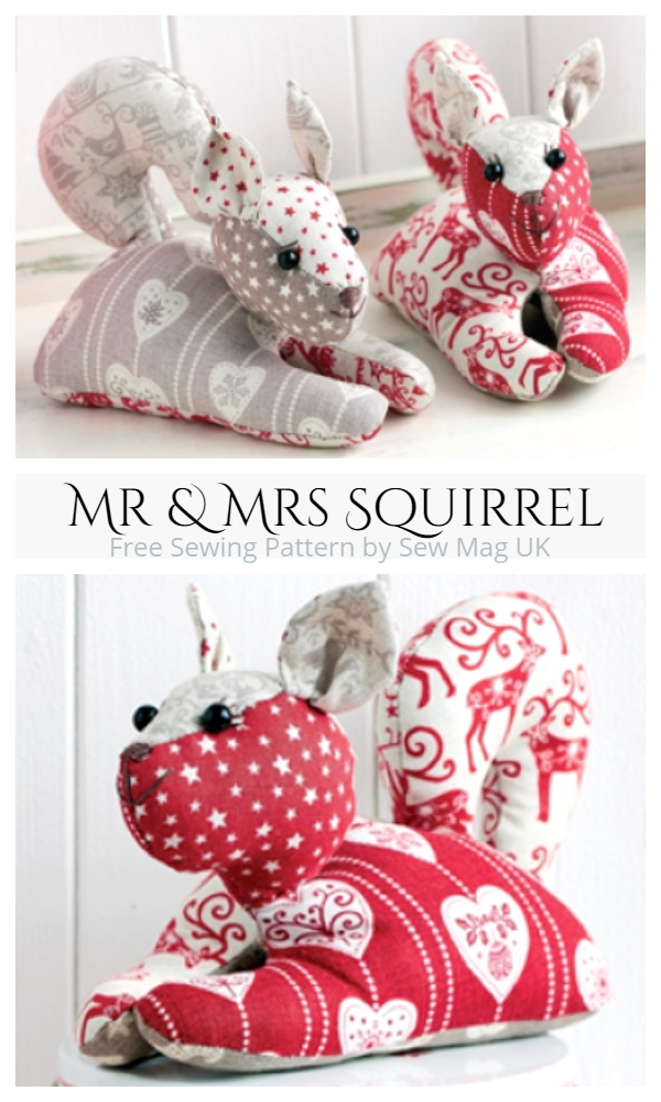 DIY Fabric Squirrel Toy Free Sewing Patternttern f1