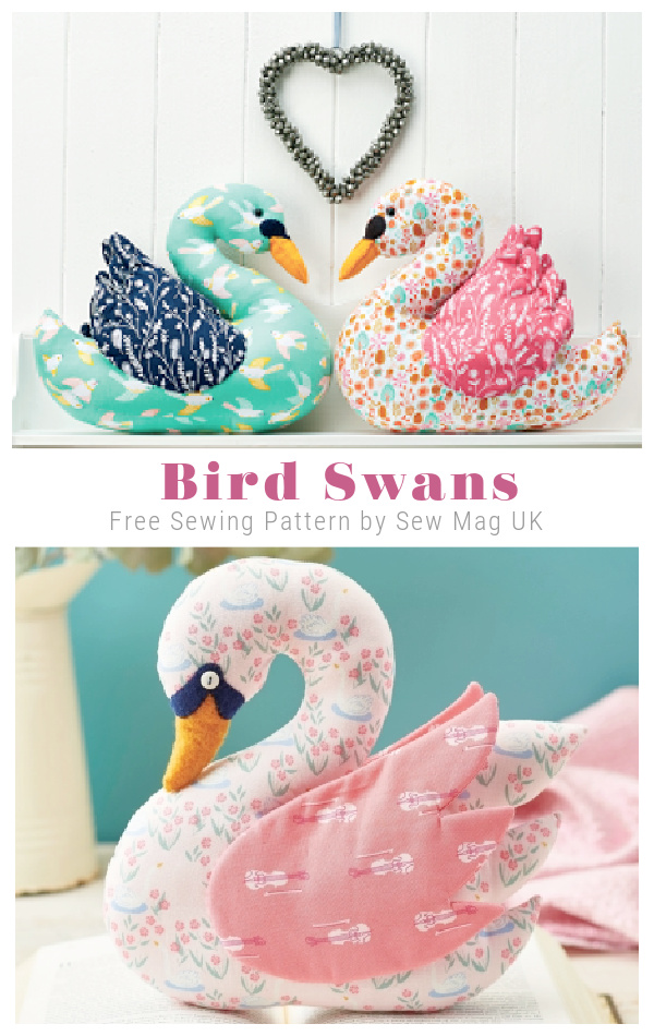 DIY Fabric Bird Swan Toy Free Sewing Patterns
