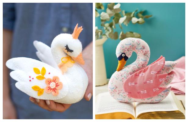 DIY Fabric Bird Swan Toy Free Sewing Patterns