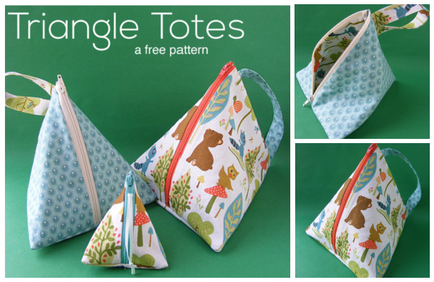 DIY Fabric Triangle Tote Bag Free Sewing Pattern