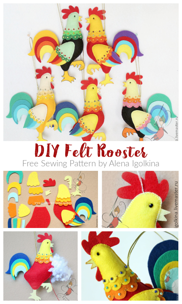 DIY Felt Rooster Free Sewing Pattern