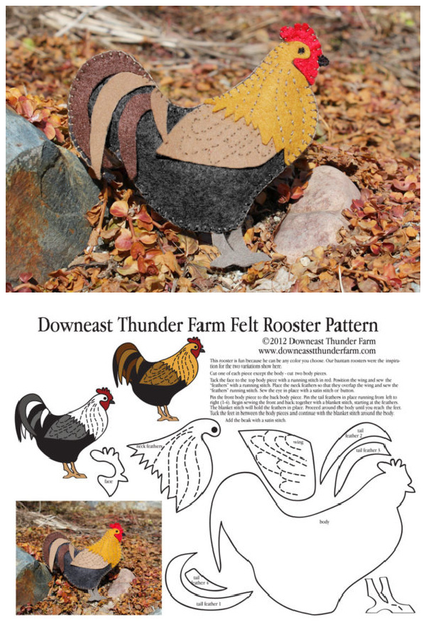 DIY Felt Rooster Free Sewing Pattern f3