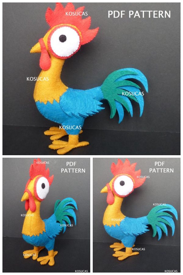 DIY Felt Rooster Free Sewing Pattern