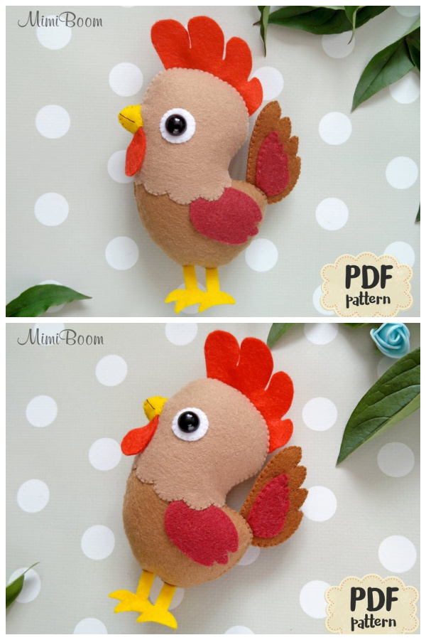 DIY Felt Rooster Ornament Sewing Patterns