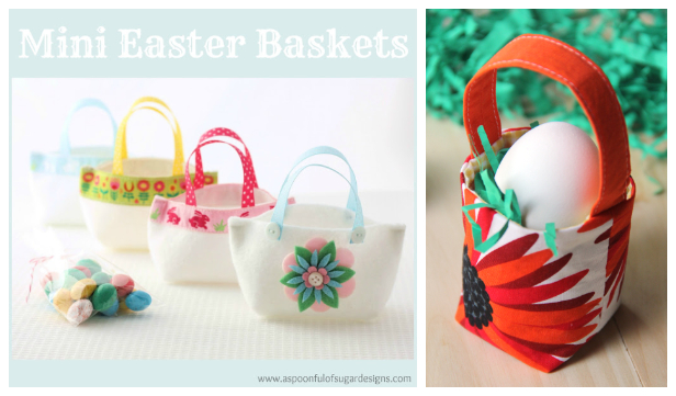 DIY Mini Fabric Easter Baskets Free Sewing Patterns f