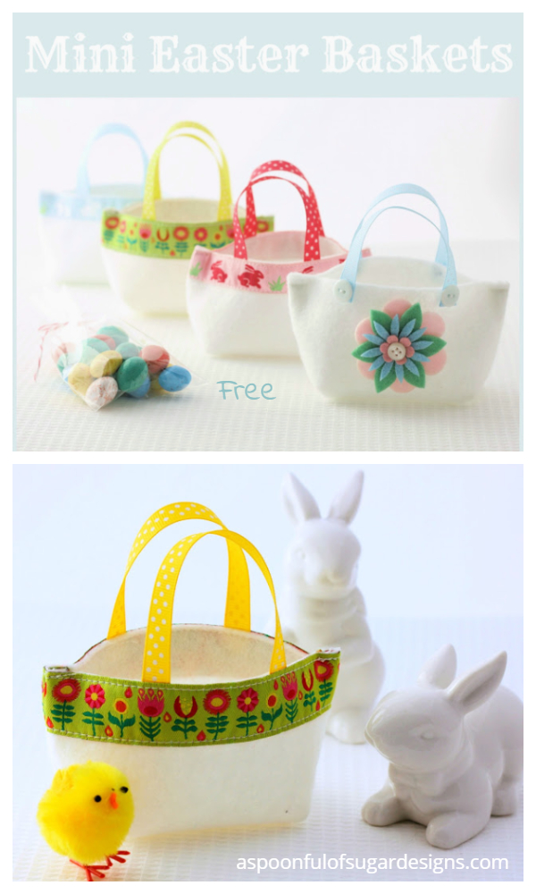 DIY Mini Fabric Easter Baskets Free Sewing Patterns f1