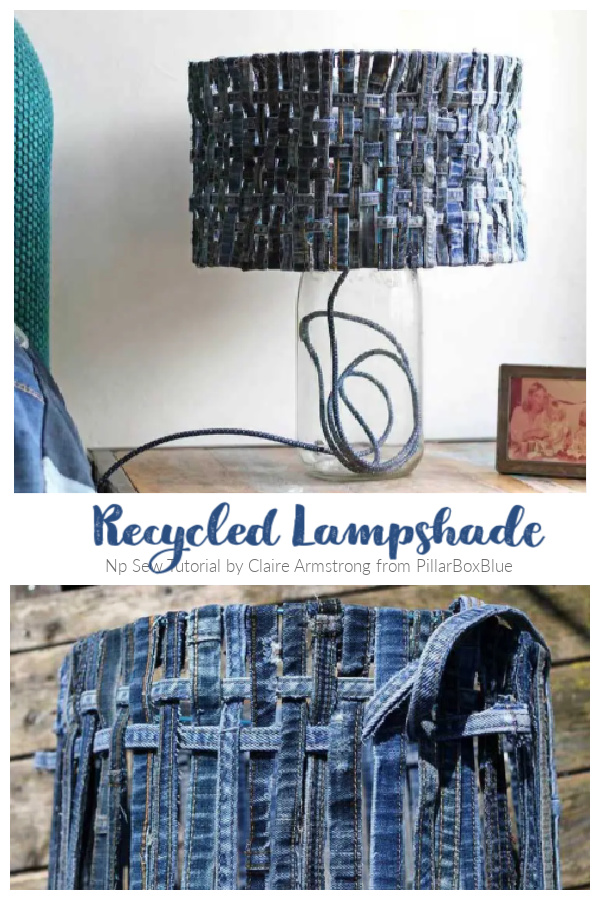 DIY Recycled Denim Lampshade No-Sew Tutorial