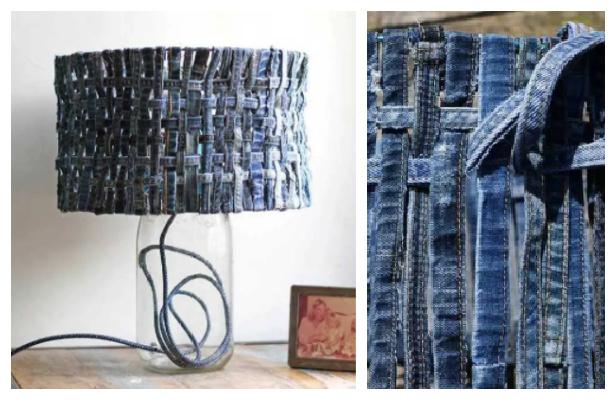 DIY Recycled Denim Lampshade No-Sew Tutorial
