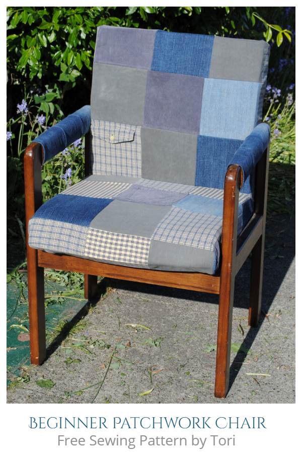 DIY Recycled Denim Patchwork Chair Upholstery Free Sewing Patterns