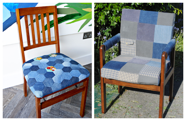 DIY Recycled Denim Patchwork Chair Free Sewing Patterns