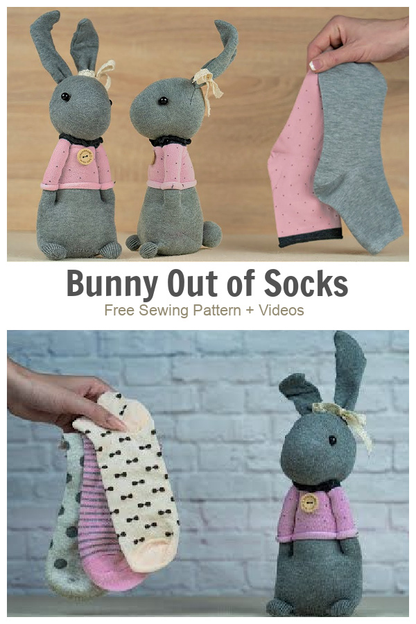 DIY Standing Sock Bunny Doll Free Sewing Patterns + Video