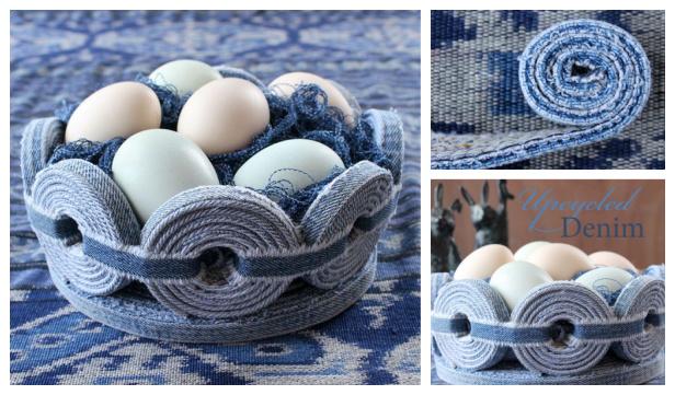 No-Sew Recycled Denim Basket DIY Tutorial