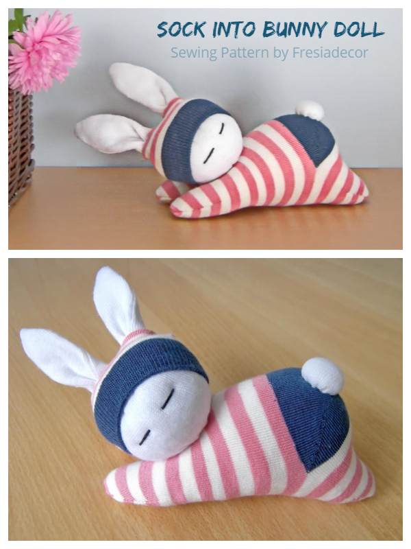 DIY Sock Bunny Doll Sewing Pattern + Video