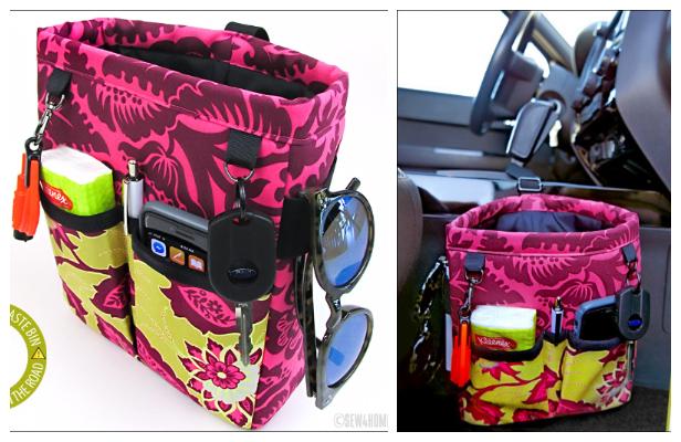 DIY Fabric Car Caddy & Waste Bin Combo Free Sewing Pattern