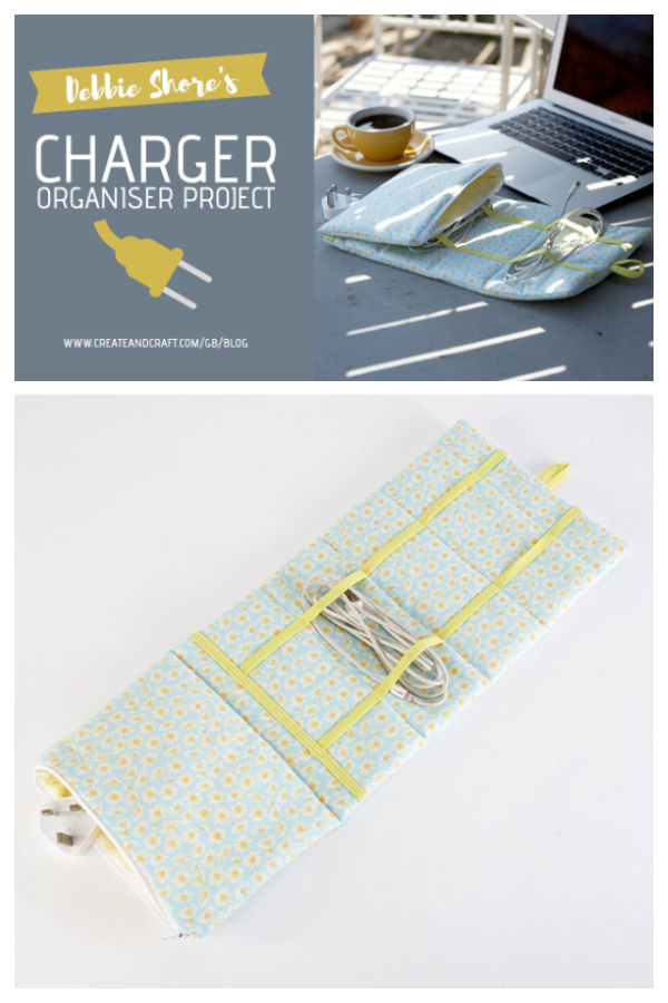 DIY Fabric Charger Cord Organizer Free Sewing Pattern + Video