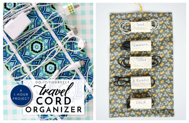 DIY Fabric Charger Cord Organizer Free Sewing Patterns