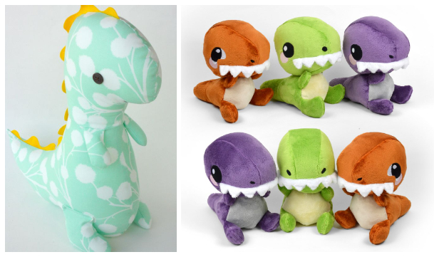 DIY Fabric Dinosaur Free Sewing Patterns & Paid