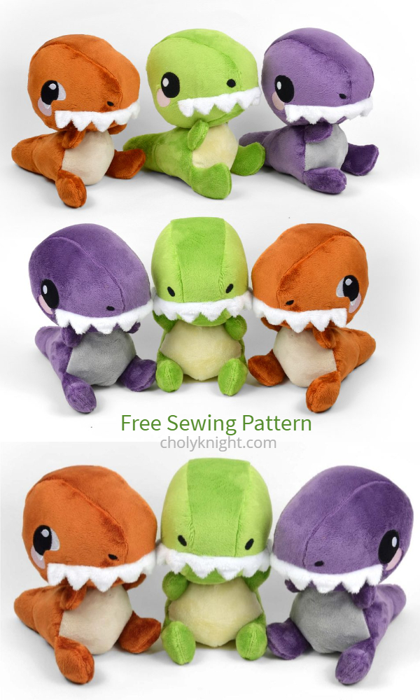 DIY Fabric T-Rex Plush Dinosaur Free Sewing Patterns