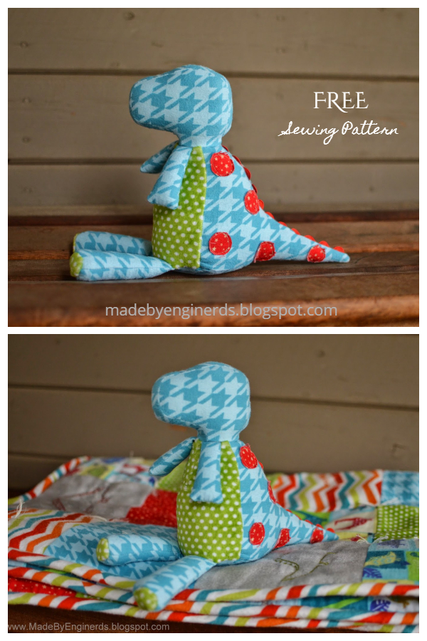DIY Fabric T-rex Dinosaur Softie Free Sewing Patterns