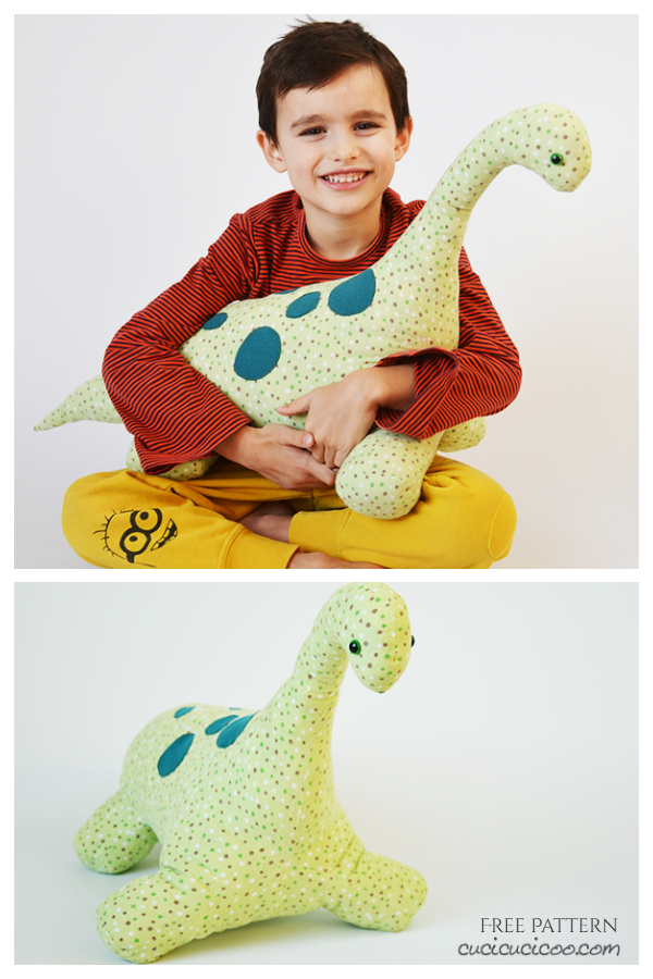 DIY Fabric Gigantic Stuffed Dinosaur Toy Free Sewing Patterns