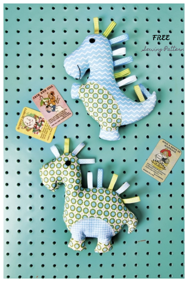 DIY Fabric Dinosaur Toy Free Sewing Patterns