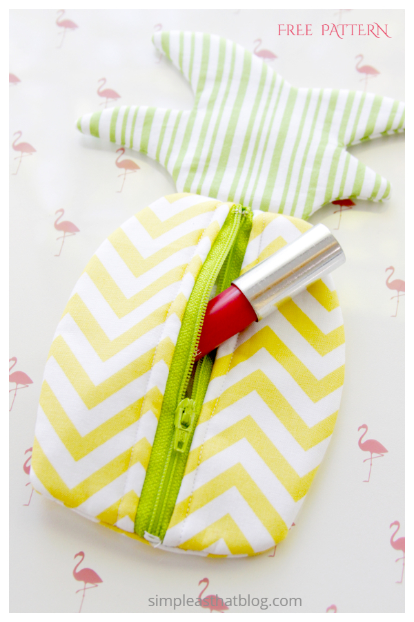 DIY Fabric Pineapple Zipper Pouch Free Sewing Patterns