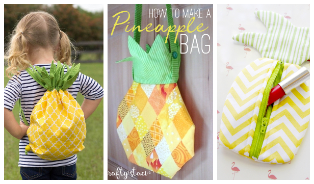 DIY Fabric Pineapple Bag Free Sewing Patterns