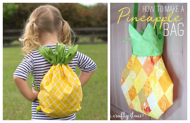 DIY Fabric Pineapple Drawstring Backpack Free Sewing Patterns