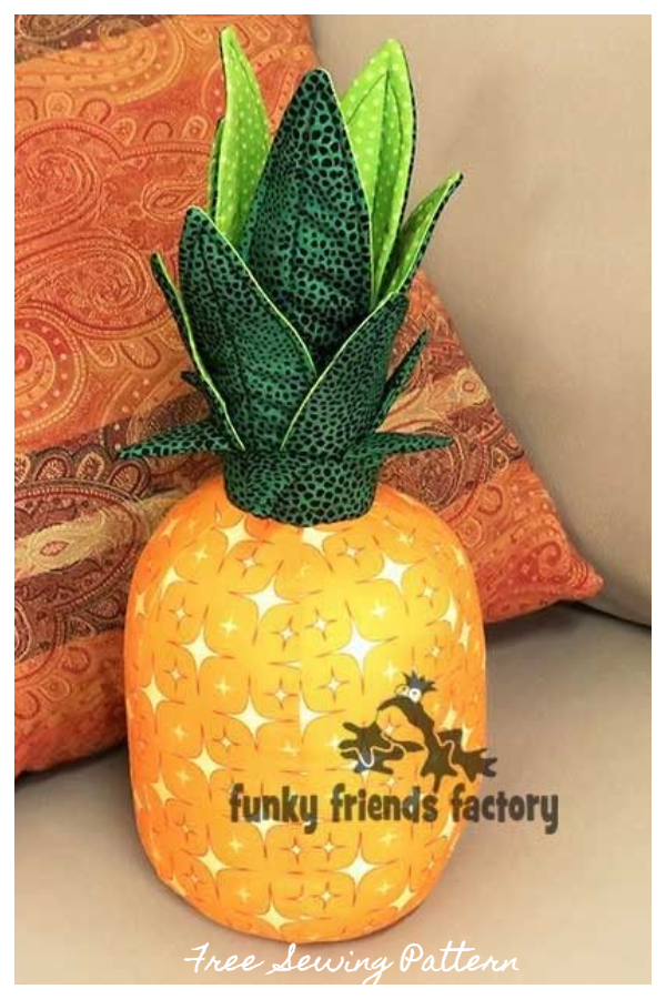 DIY Fabric Pineapple Cushion Free Sewing Patterns