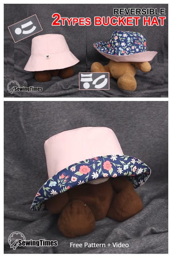 DIY Fabric Reversible Bucket Hat Free Sewing Pattern + Video