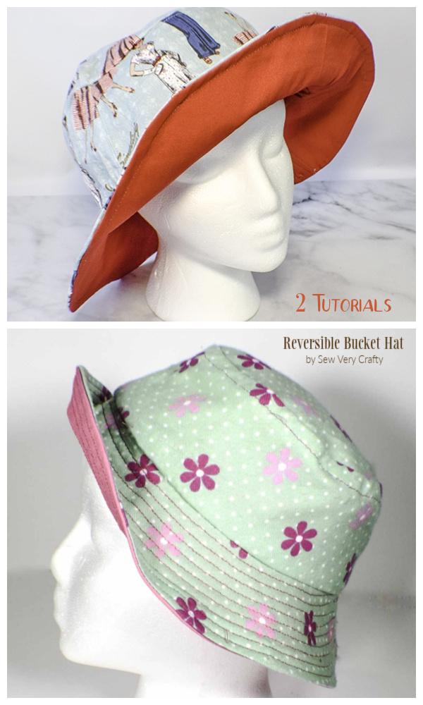 DIY Fabric Reversible Bucket Hat Free Sewing Pattern