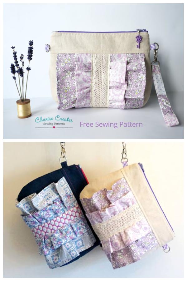 DIY Fabric Ruffle Purse Free Sewing Pattern
