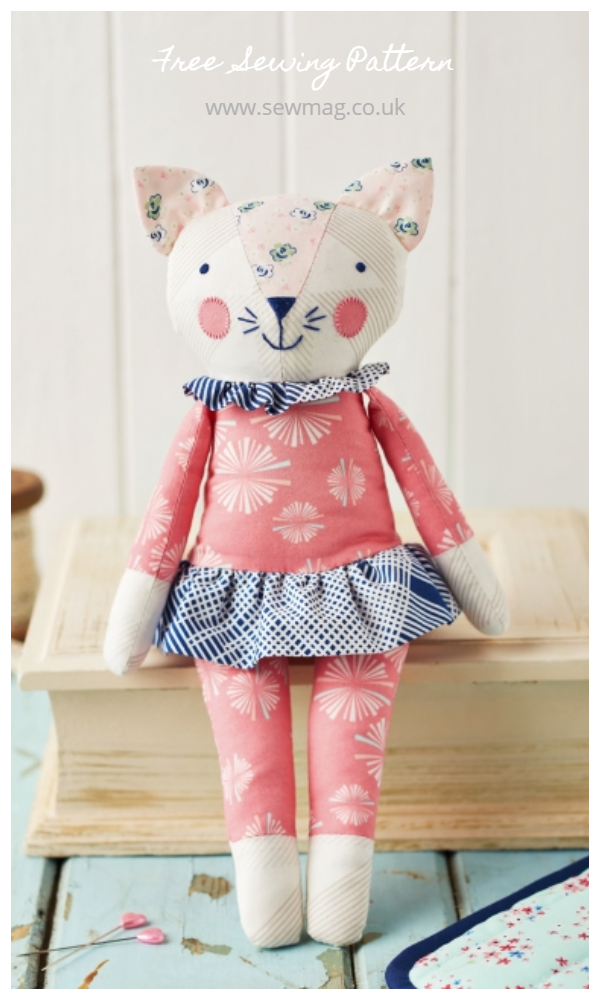 DIY Fabric Sleepy Kitty Toy Free Sewing Pattern