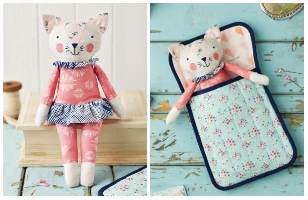 DIY Fabric Sleepy Kitty Toy Free Sewing Pattern