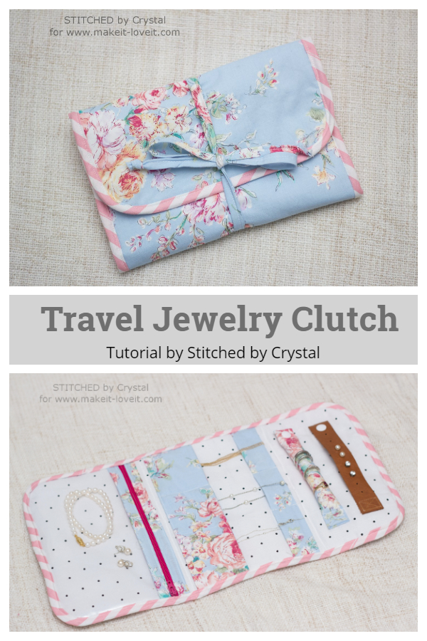 DIY Fabric Travel Jewelry Clutch Free Sewing Patterns + Tutorial
