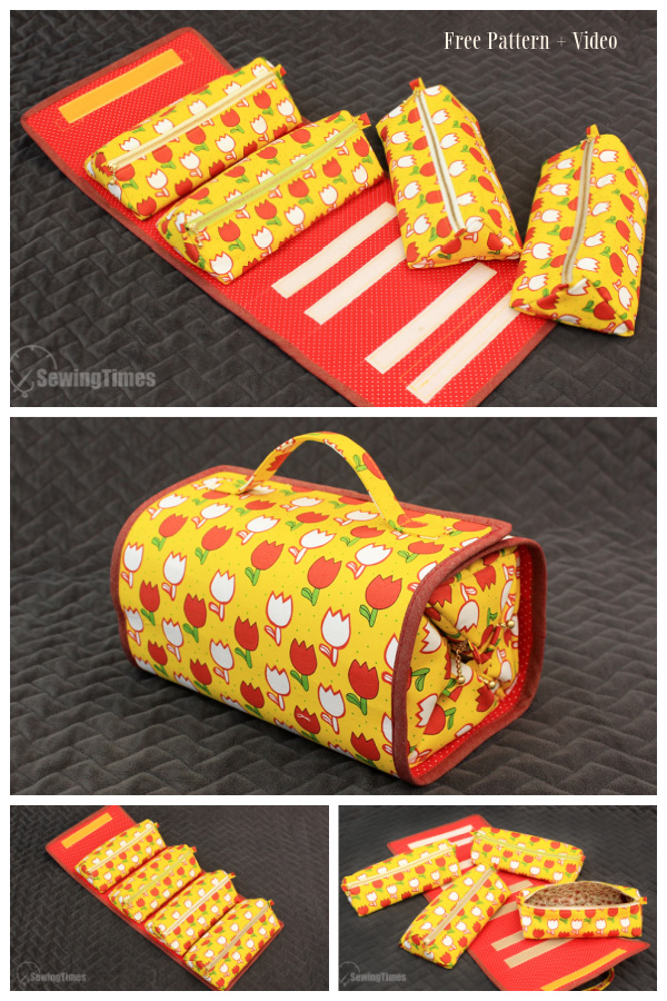 DIY Roll Up Makeup Bag Free Sewing Pattern + Video
