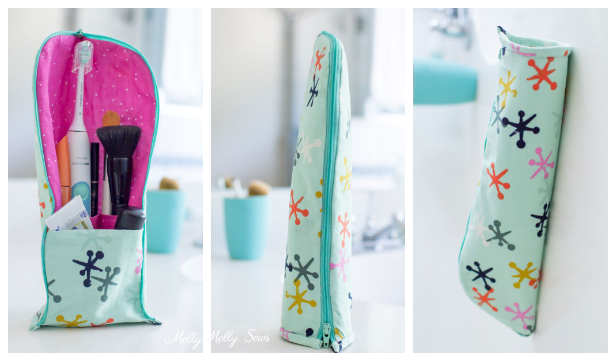 DIY Stand Up Toothbrush Travel Case Free Sewing Pattern