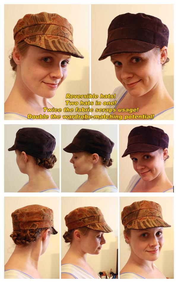 DIY Fabric Reversible Cadet Cap Hat Free Sewing Patterns