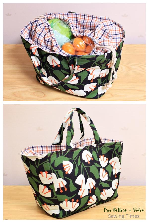 DIY Fabric Market Tote Bag Free Sewing Pattern + Video